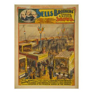 Sells Brothers Zoological Marvels Circus Poster