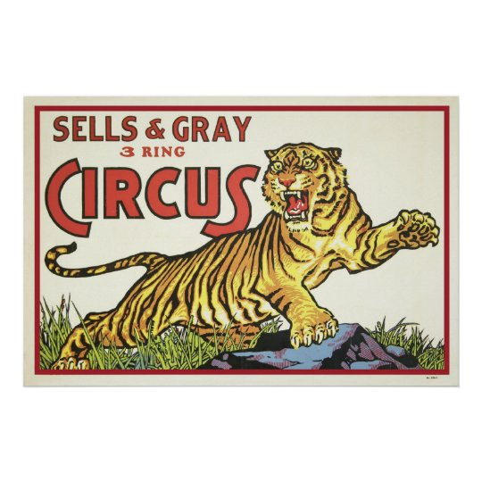 Sells & Grey 3 Ring Circus Poster