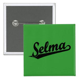 Selma script logo in black 15 cm square badge