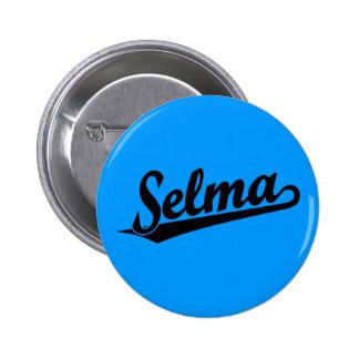 Selma script logo in black 6 cm round badge