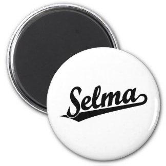 Selma script logo in black 6 cm round magnet