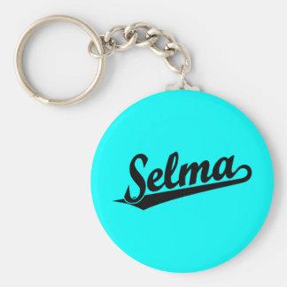 Selma script logo in black basic round button key ring