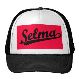 Selma script logo in black cap