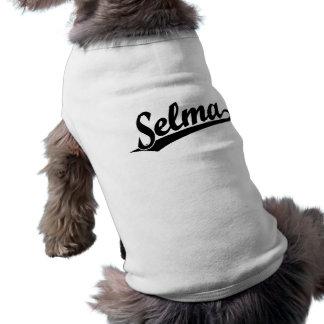 Selma script logo in black sleeveless dog shirt