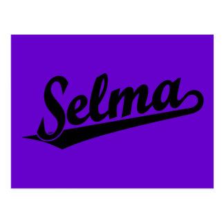 Selma script logo in black postcard