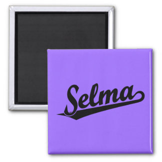 Selma script logo in black square magnet