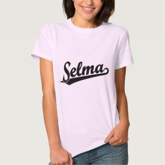 Selma script logo in black t shirts