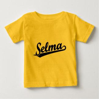 Selma script logo in black tee shirt