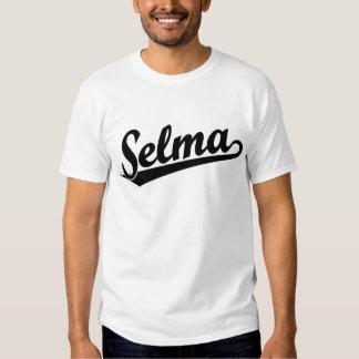 Selma script logo in black tee shirts