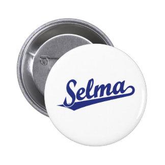 Selma script logo in blue 6 cm round badge