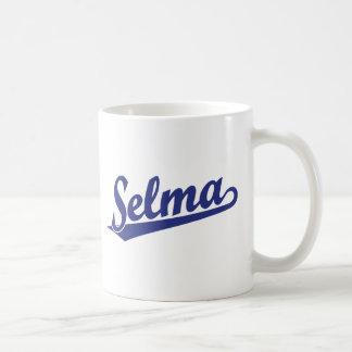 Selma script logo in blue basic white mug