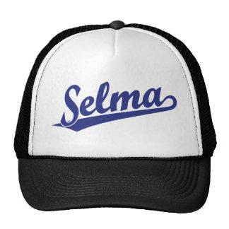 Selma script logo in blue cap