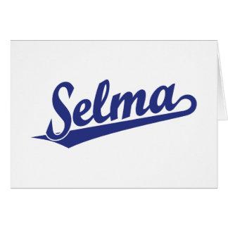 Selma script logo in blue greeting card