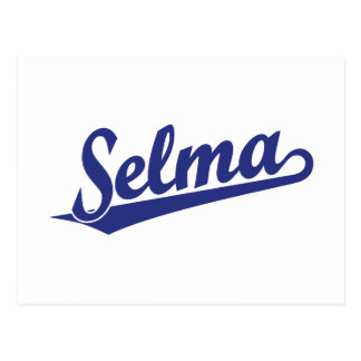 Selma script logo in blue postcard