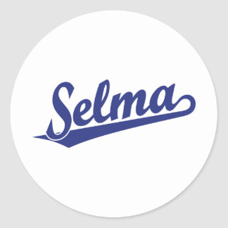 Selma script logo in blue round sticker