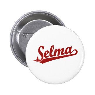 Selma script logo in red 6 cm round badge