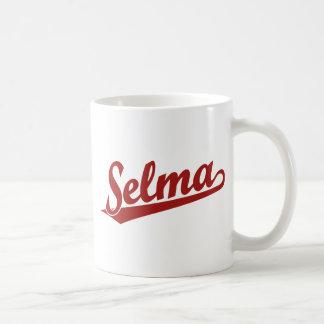 Selma script logo in red basic white mug