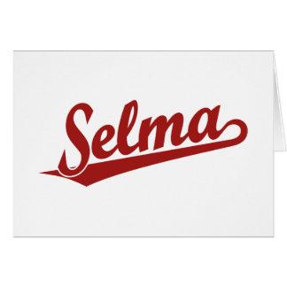 Selma script logo in red greeting card