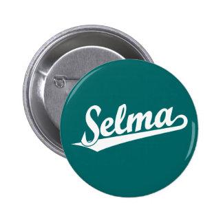 Selma script logo in white 6 cm round badge