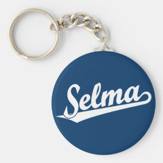 Selma script logo in white basic round button key ring