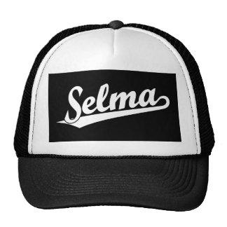 Selma script logo in white cap