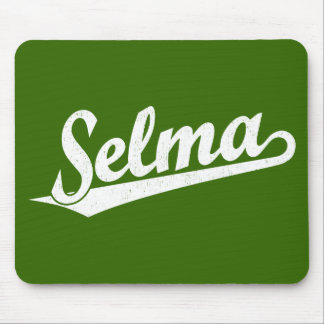 Selma script logo in white distressed mouse pad