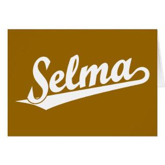 Selma script logo in white greeting card