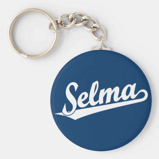 Selma script logo in white key chain