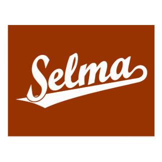Selma script logo in white postcard