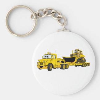Semi Bulldozer Yellow Cartoon Keychains