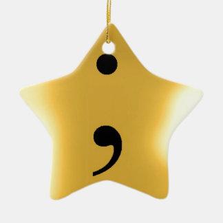 Semi Colon - Gold Metal Christmas Ornament