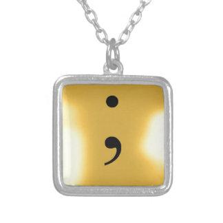 Semi Colon - Gold Metal Square Pendant Necklace