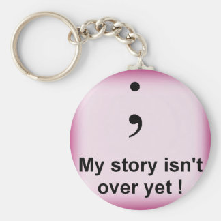Semi Colon - Pink Basic Round Button Key Ring