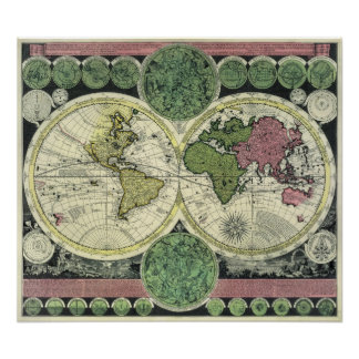Semi-Gloss Replica Antique Map of the World Poster