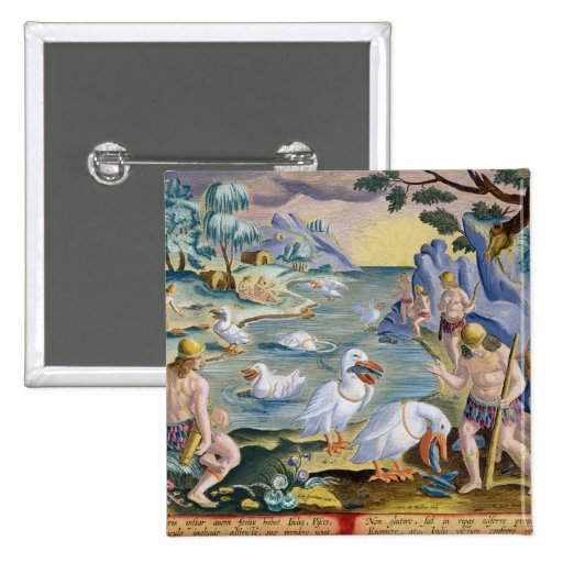 Semi-Naked Savages of India Using Pelicans to Catc Button