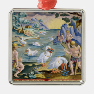 Semi-Naked Savages of India Using Pelicans to Catc Christmas Ornament