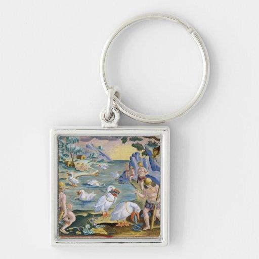 Semi-Naked Savages of India Using Pelicans to Catc Keychain