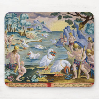 Semi-Naked Savages of India Using Pelicans to Catc Mouse Pad