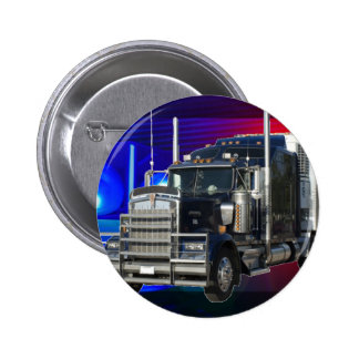 SEMI TRACTOR TRAILER WITH POLICE LIGHTS BACKGROUND 6 CM ROUND BADGE