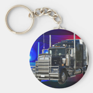 SEMI TRACTOR TRAILER WITH POLICE LIGHTS BACKGROUND BASIC ROUND BUTTON KEY RING