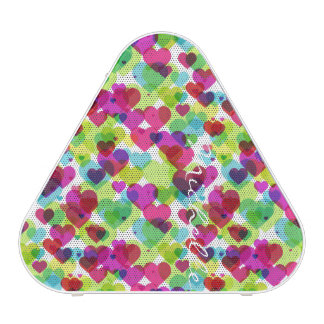 semi transparent colorful hearts with name