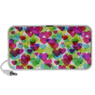 semi transparent colorful hearts with name mini speaker