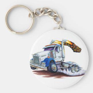 Semi Truck Basic Round Button Key Ring