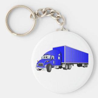 Semi Truck Blue Trailer Cartoon Basic Round Button Key Ring