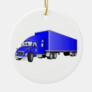 Semi Truck Blue Trailer Cartoon Christmas Ornament