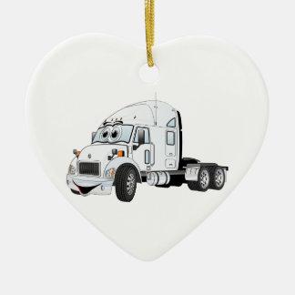 Semi Truck Cab White Christmas Ornament