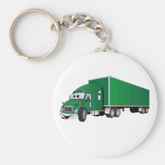 Semi Truck Green Trailer Cartoon Keychain