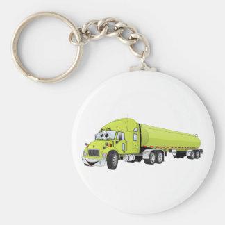 Semi Truck Light Green Tanker Truck Cartoon Key Chain