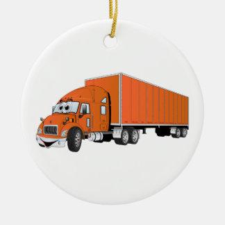 Semi Truck Orange Trailer Cartoon Christmas Ornament