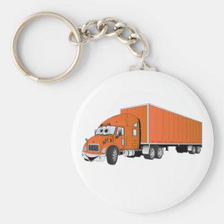 Semi Truck Orange Trailer Cartoon Keychain